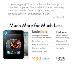 Amazon Kindle Fire HD vs. Apple iPad mini Amazinin etusivulla