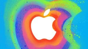 Applen logo värikkäällä taustalla
