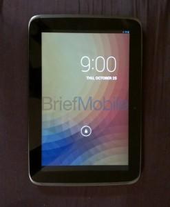 Nexus 10 ja lukitusnäyttö BriefMobilen julkaisemassa kuvassa