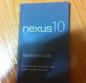 Nexus 10:n ohjekirja