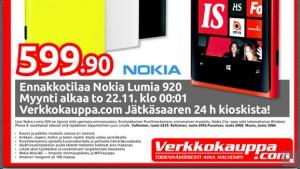Nokia Lumia 920 Verkkokauppa.comin lehtisessä
