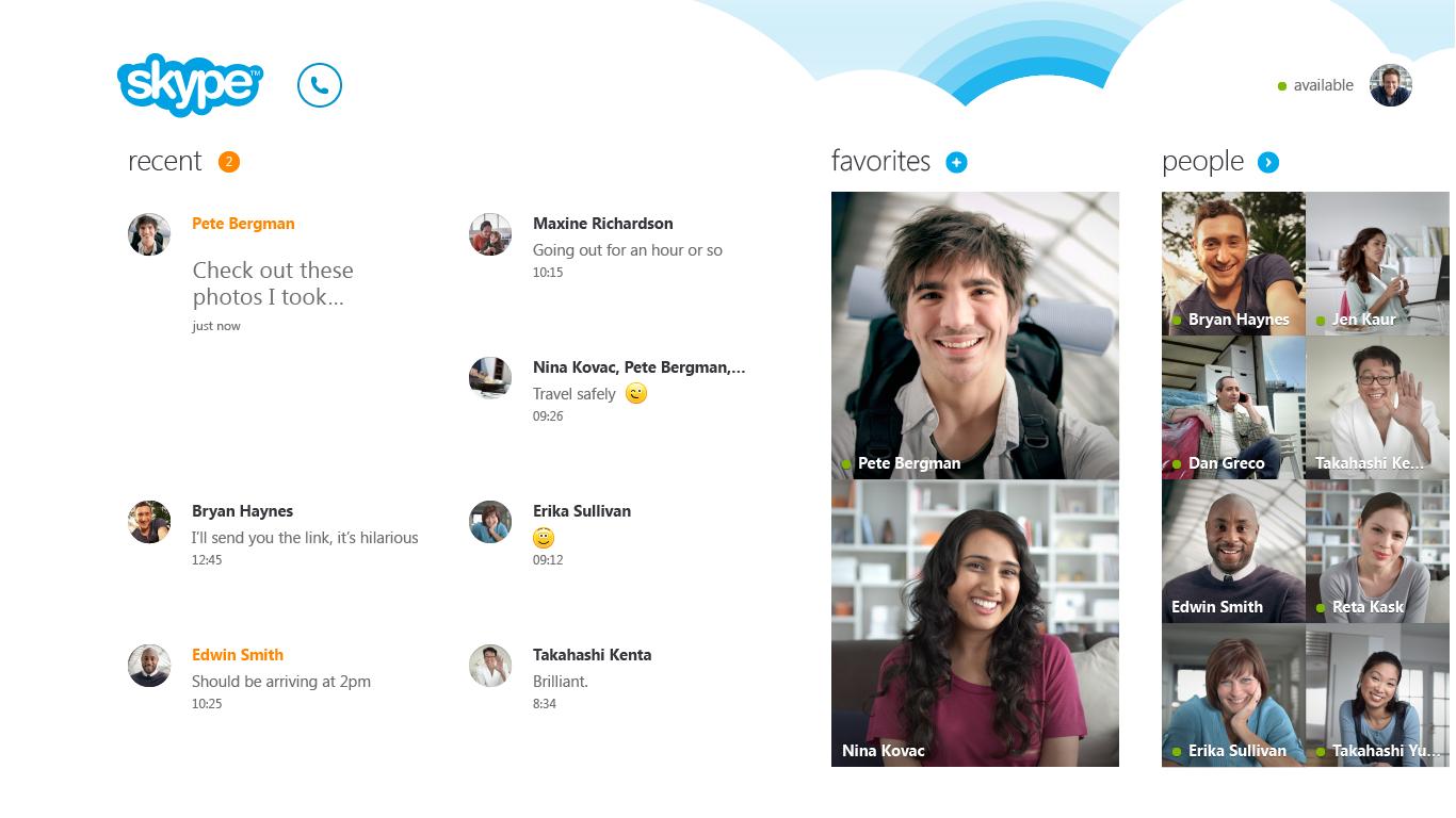 Skypen Windows 8 -sovelluksen aloitusnäkymä