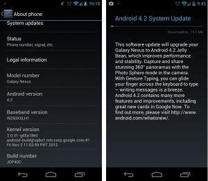 Android 4.2 -päivitys Galaxy Nexukselle