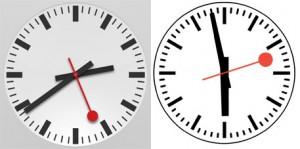 Applen laitteista löytyvä kello vasemmalla, Sveitsin rautateiden design oikealla