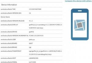 LG F240K GLBenchmarkin tiedoissa