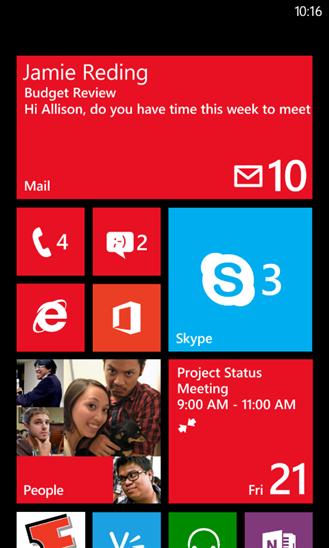Skype Windows Phonen aloitusnäkymässä.