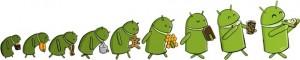 Googlen aiempi työntekijän piirros Android-robotista popsimassa eri herkkuja, viimeisenä oikealla Key Lime Pie