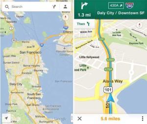 Kuvankaappauksia Google Maps -sovelluksesta iOS-laitteille