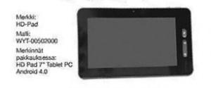 Tokmannin myymä seitsentuumainen HD Pad Tablet PC
