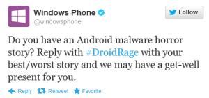 Kuvankaappaus Windows Phone -tilin #DroidRage-tweetistä