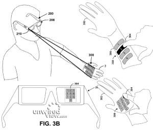 Havainnekuva Googlen älylasien heijastavan näppäimistön patenttihakemuksesta