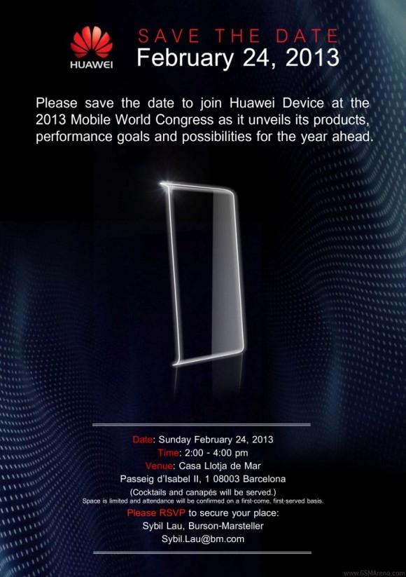 Huawein kutsu medialle MWC 2013 -tilaisuuteen