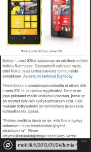 Internet Explorer 10 -selain Lumia 820:ssä