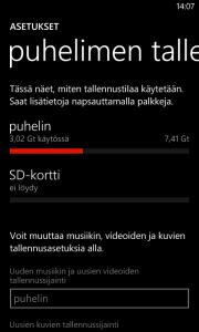 SD-korttiasetusvalikko Lumia 820:ssä