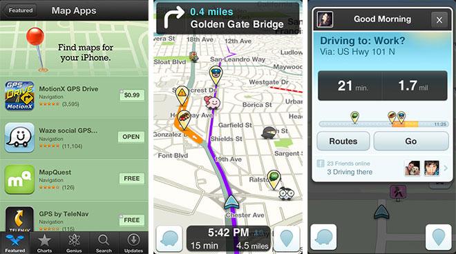 Kuvankaappauksia Waze-sovelluksesta