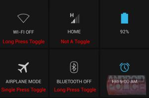 Android Policen julkaisema kuva Androidin pika-asetusvalikosta ja eri tavalla toimivista toiminnoista