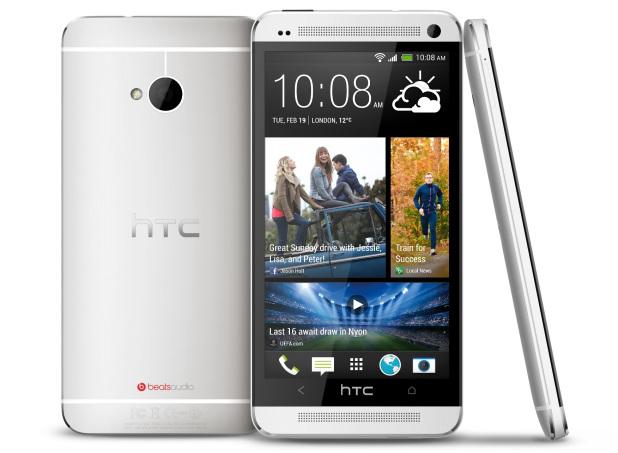 HTC One takaa, edestä ja sivulta