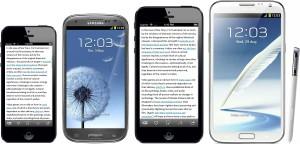 Vertailukuva nykyisestä iPhone 5:stä, Samsungin Galaxy S III:sta ja Note II:sta sekä ehdotetusta 4,94 tuuman iPhonesta. Kuvan luonut Marco Arment.