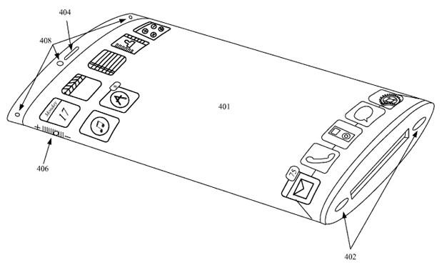 Kuva patenttihakemuksesta Applen kaarevasta laitteesta