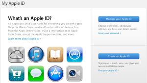 Kuvankaappaus Apple ID -sivustolta