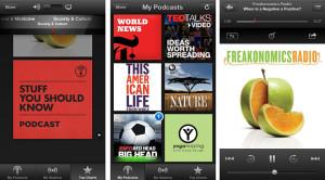 Kuvankaappauksia Applen Podcastit-sovelluksesta