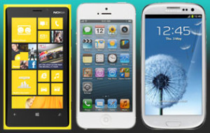 Nokia Lumia 920, Apple iPhone 5 ja Samsung Galaxy S III