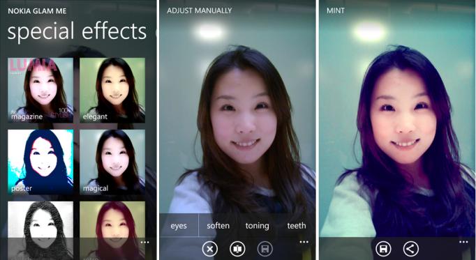 Kuvankaappauksia Nokian Glam Me -sovelluksesta