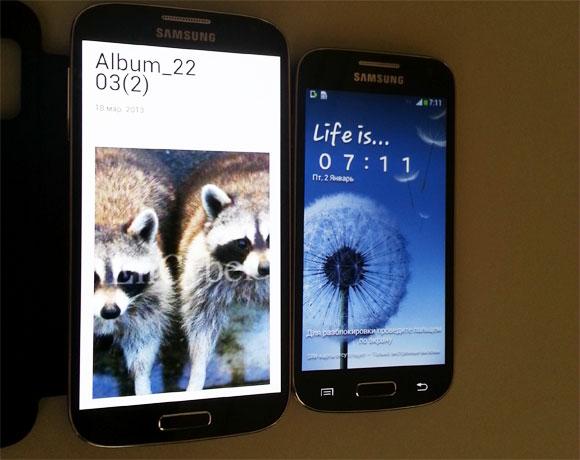 Samsung Galaxy S4 Mini ja Galaxy S4 SamMobilen aiemmin julkaisemassa kuvassa