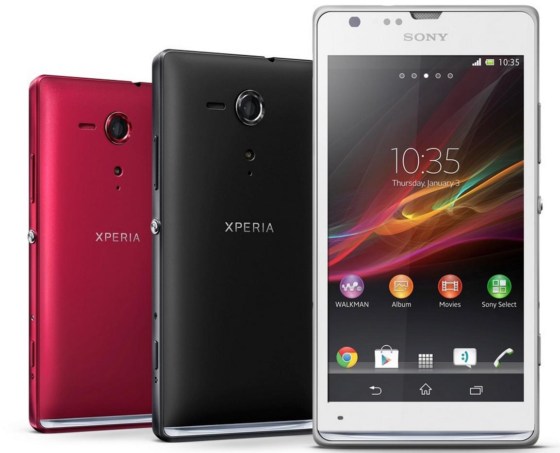 Sony Xperia SP eri väreissä edestä ja takaa