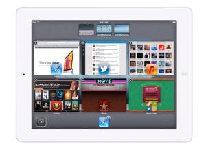 Kuvankaappaus iOS-konseptivideolta: moniajonäkymä iPadissa