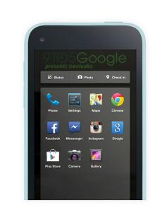 Facebook-puhelimen sovellusvalikko 9to5Googlen julkaisemassa kuvassa