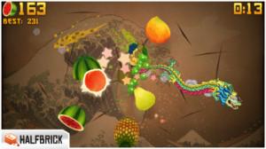 Kuvankaappaus Fruit Ninja -pelistä