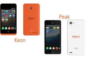 Geeksphonen aiempia Firefox OS -puhelimia, Keon ja Peak