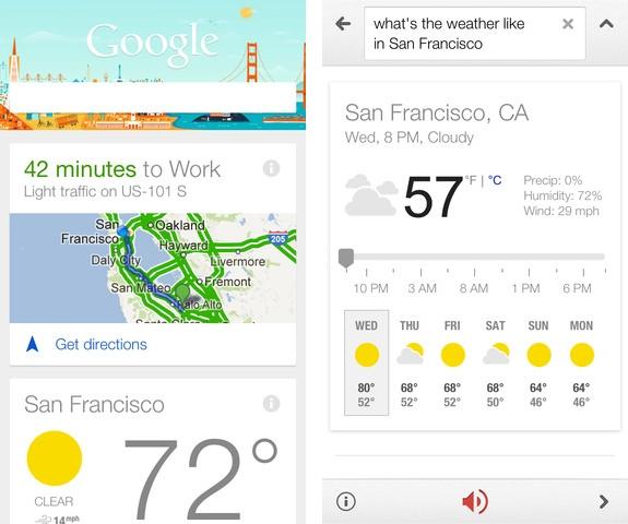 Kuvankaappaus Google Now'sta muutaman vuoden takaa.