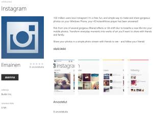 Aiemmin aprillia, joskus totta? Instagram Windows Phonen sovelluskaupassa