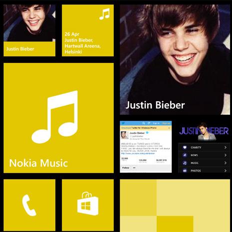 Justin Bieber Windows Phone -aloitusnäkymässä