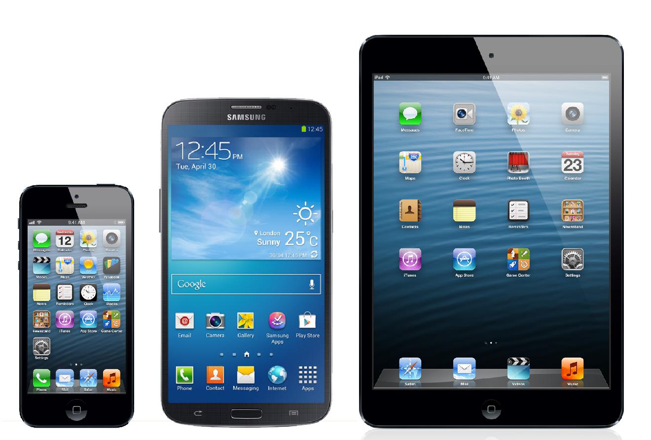 Vasemmalla Apple iPhone 5 neljän tuuman näytöllä, keskellä Samsung Galaxy Mega 6.3 ja oikealla Apple iPad mini 7,9 tuuman näytöllä