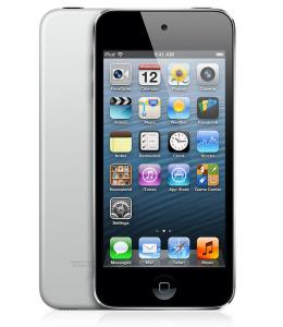 Applen viidennen sukupolven iPod touch 16GB - huomaa takaa yläkulmasta puuttuva kamera ja alakulmasta puuttuva kantolenkin paikka verrattuna 32 ja 64 gigatavun malleihin