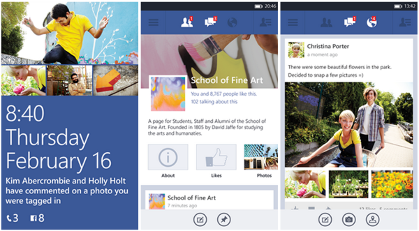 Facebook-sovellus vuonna 2013 Windows Phonessa.