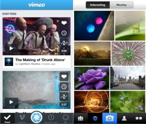 Kuvankaappaukset Flickrin ja Vimeon iPhone-sovelluksista