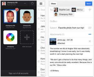 Kuvankaappauksia Gmailin iOS-sovelluksesta