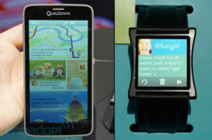 Qualcommin 5,1 ja 1,5 tuuman näytöt esittelyssä Engadgetin kuvassa