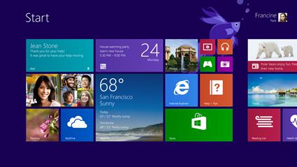 Windows 8.1:n aloitusnäkymä