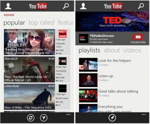 Kuvankaappauksia YouTube-sovelluksesta Windows Phonelle