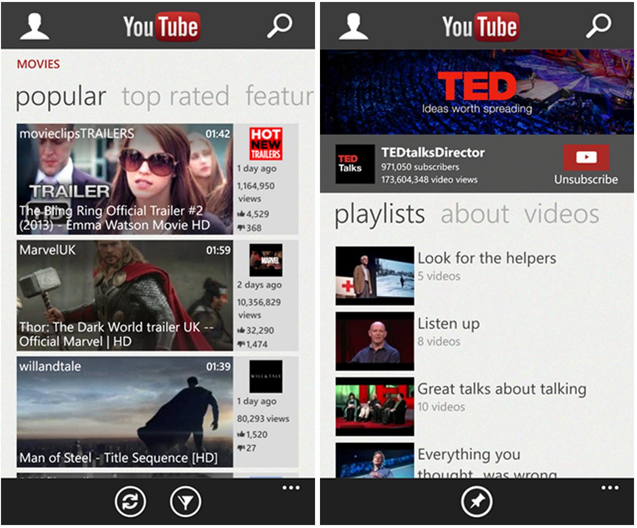 Tältä Windows Phonen YouTube-sovellus näytti välillä - ei enää
