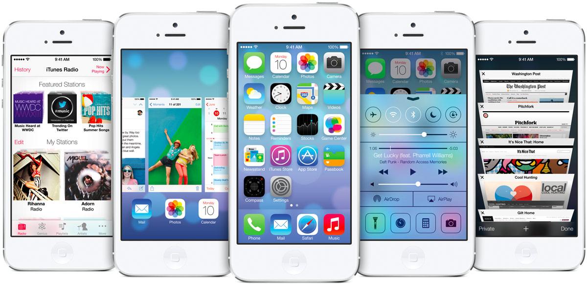 Apple iOS 7:n eri toimintoja