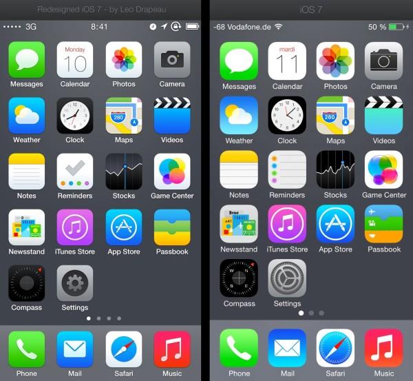 Vasemmalla Leo Drapeaun uudelleensuunnittelemat kuvakkeet, oikealla iOS 7:n viralliset kuvakkeet