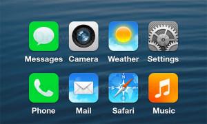 Apple iOS 7:n uudistuneita sovelluskuvakkeita vuotokuvan perusteella tehdyssä esityksessä