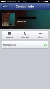 Facebookin ilmaispuhelut. Free Call -painike näkyy kuvan mukaisena, jos soittaminen on mahdollista.