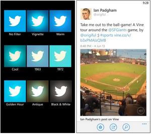 Kuvankaappauksia päivitetystä Twitter-sovelluksesta